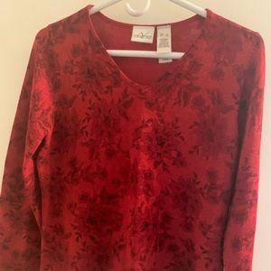 Villager Flowered Red V Neck Sweater Size S